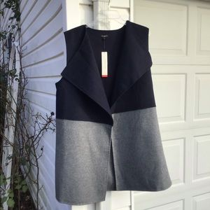 NWT Talbots Cozy Wool Flannel Navy Gray Long Vest